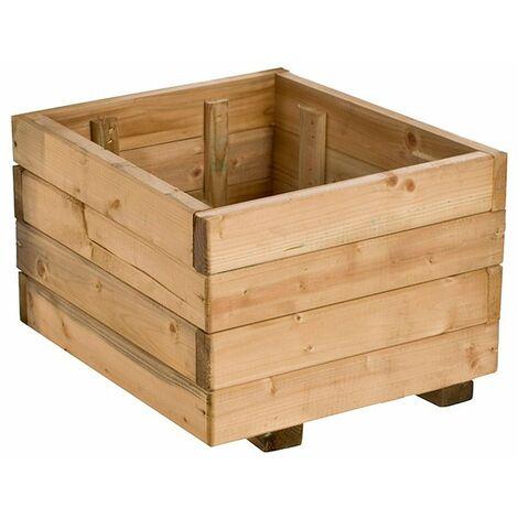 Jardinera cuadrada de madera de pino
