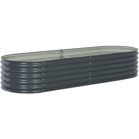 Jardinera de acero galvanizado 240x80x44 cm gris