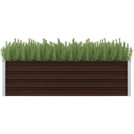 Jardinera de acero galvanizado marron 160x40x45 cm