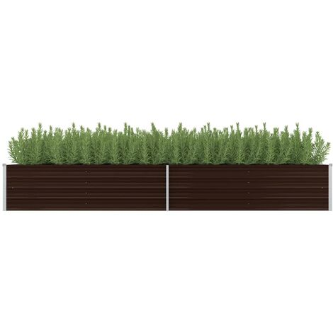Jardinera de acero galvanizado marron 320x80x45 cm