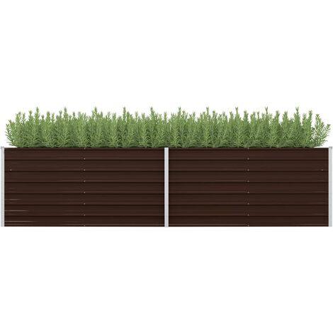 Jardinera de acero galvanizado marron 320x80x77 cm