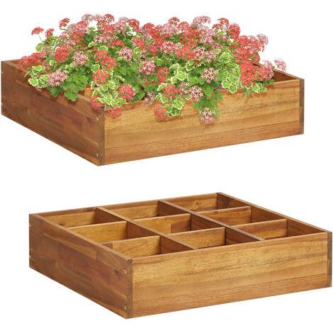 Jardinera de especias madera maciza de acacia 60x60x15 cm