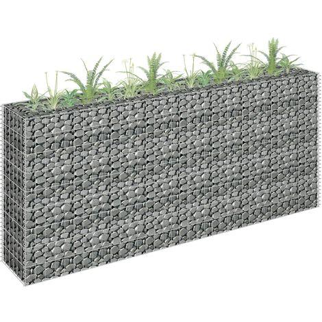 Jardinera de gaviones de acero galvanizado 180x30x90 cm