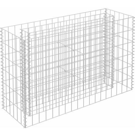 Jardinera de gaviones de acero galvanizado 90x30x60 cm