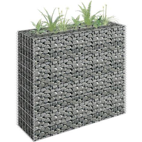 Jardinera de gaviones de acero galvanizado 90x30x90 cm