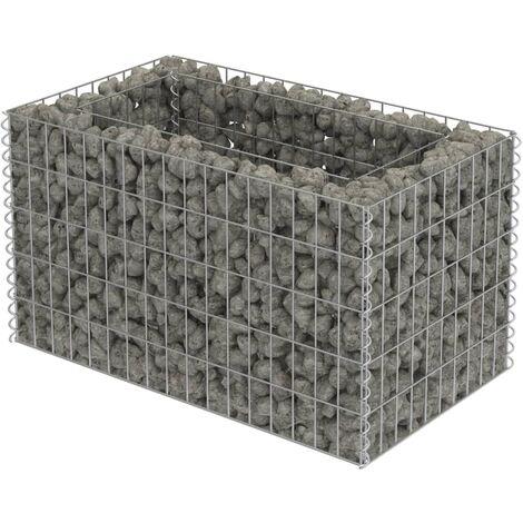 Jardinera de gaviones de acero galvanizado 90x50x50 cm