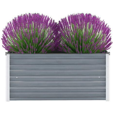Jardinera de jardin de acero galvanizado 100x40x45 cm gris