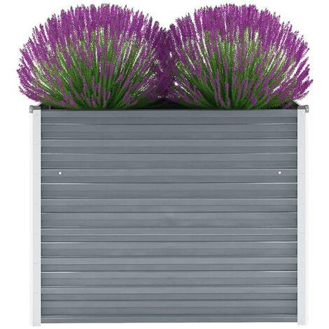 Jardinera de jardin de acero galvanizado 100x40x77 cm gris