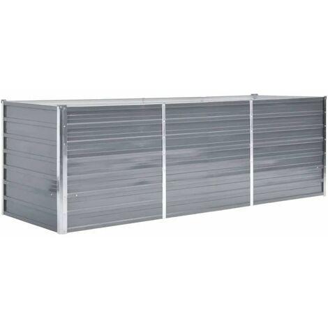 Jardinera de jardín de acero galvanizado 240x80x77 cm gris