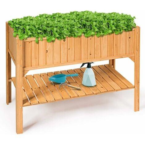 Jardinera de Madera Maceta de Abeto Tiesto Grande con Estante y Soporte Al Aire Libre