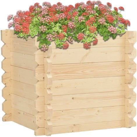 Jardinera de madera maciza de abeto 100x100x87,8 cm 42 mm