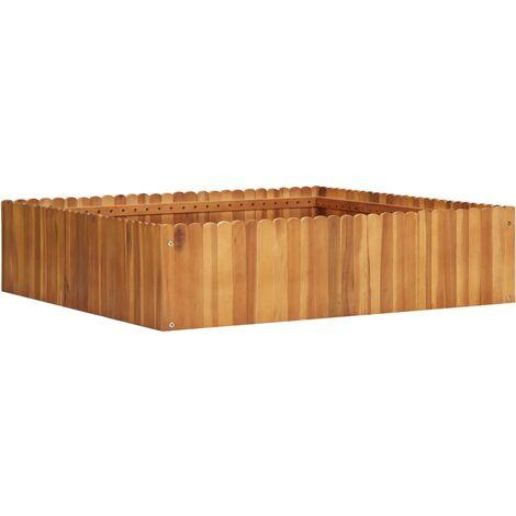 Jardinera de madera maciza de acacia 100x100x25 cm