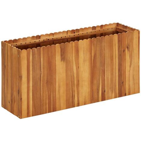 Jardinera de madera maciza de acacia 100x30x50 cm