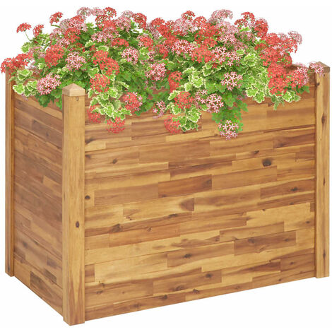 Jardinera de madera maciza de acacia 110x60x84 cm