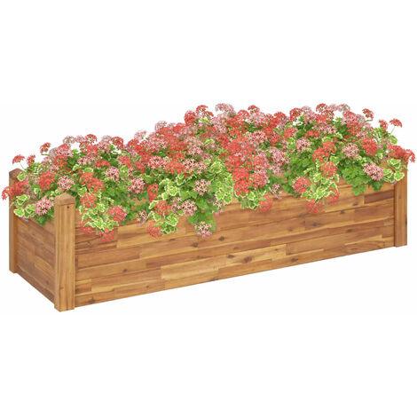 Jardinera de madera maciza de acacia 160x60x44 cm