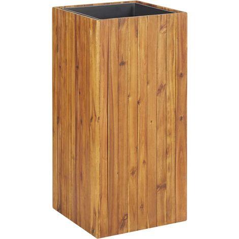 Jardinera de madera maciza de acacia 43,5x43,5x90 cm
