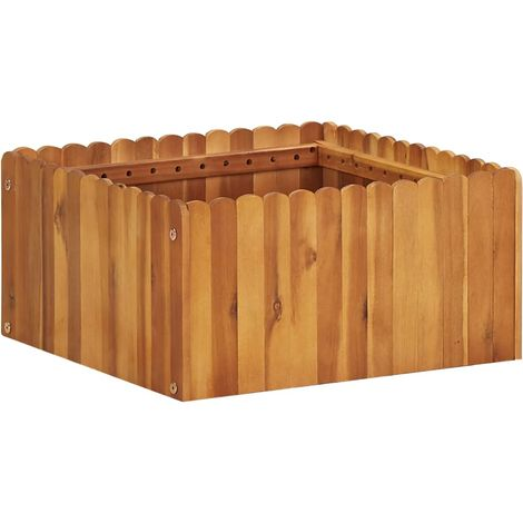 Jardinera de madera maciza de acacia 50x50x25 cm