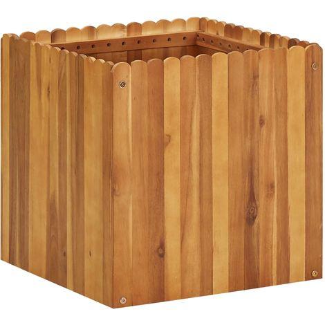 Jardinera de madera maciza de acacia 50x50x50 cm