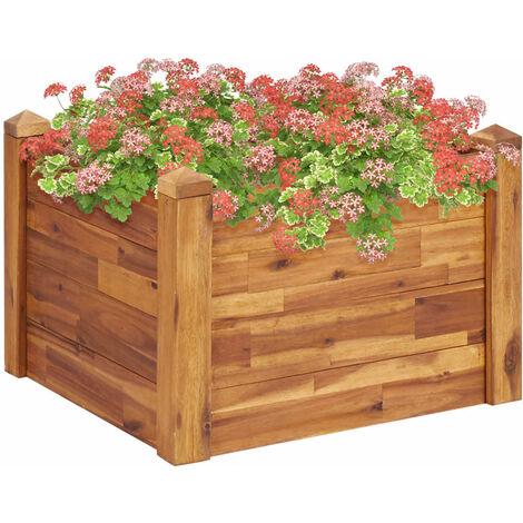 Jardinera de madera maciza de acacia 60x60x44 cm