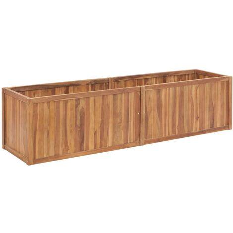 Jardinera de madera maciza de teca 200x50x50 cm