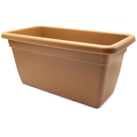 Jardinera de plastico alta 60 cm Marron