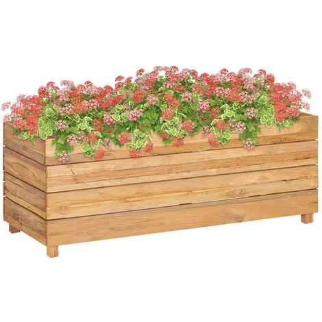 Jardinera de teca reciclada y acero 100x40x38 cm