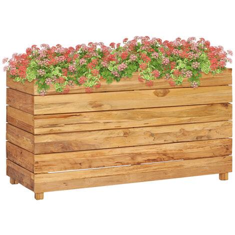 Jardinera de teca reciclada y acero 100x40x55 cm