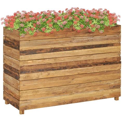 Jardinera de teca reciclada y acero 100x40x72 cm