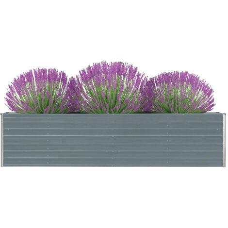 Jardinera elevada acero galvanizado gris 320x40x77 cm