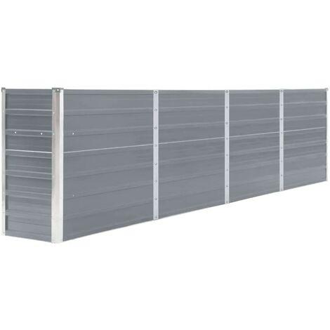 Jardinera elevada acero galvanizado gris 320x40x77 cm - Gris