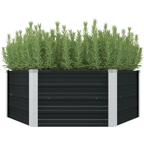 Jardinera elevada acero galvanizado gris antracita 129x129x45cm