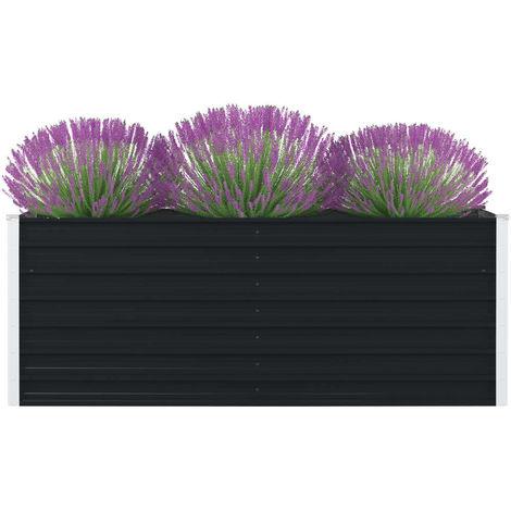 Jardinera elevada acero galvanizado gris antracita 160x80x45 cm