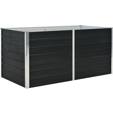 Jardinera elevada acero galvanizado gris antracita 160x80x77cm