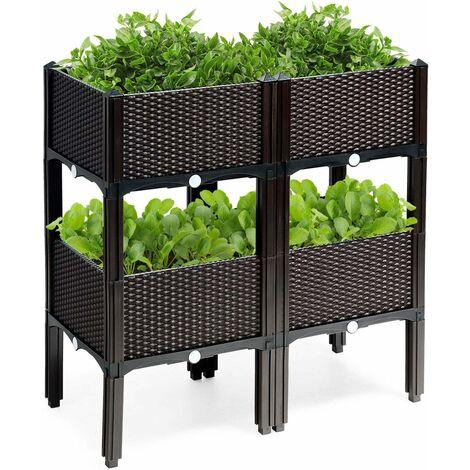 Jardinera Elevada con 4 Compartimientos Jardinera para Flores Plantas Verduras para Jardín Patio Balcón