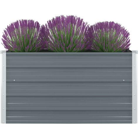 Jardinera elevada de acero galvanizado gris 100x100x45 cm