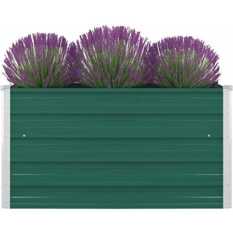Jardinera elevada de acero galvanizado verde 100x100x45 cm