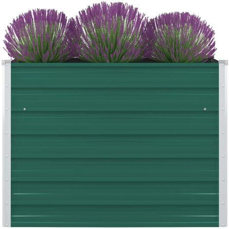 Jardinera elevada de acero galvanizado verde 100x100x77 cm
