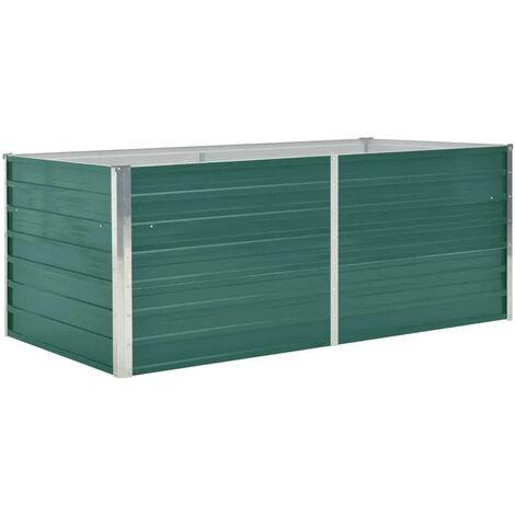 Jardinera elevada de acero galvanizado verde 160x80x45 cm