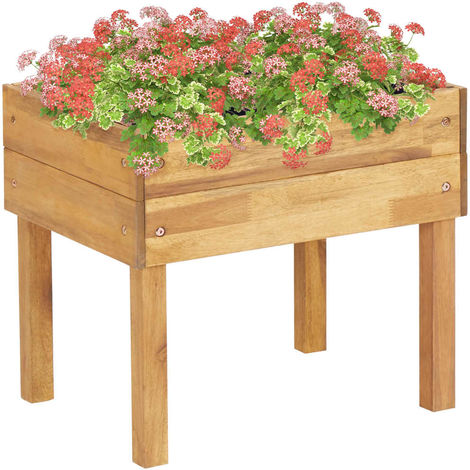 Jardinera elevada de madera maciza de acacia 50x40x45 cm