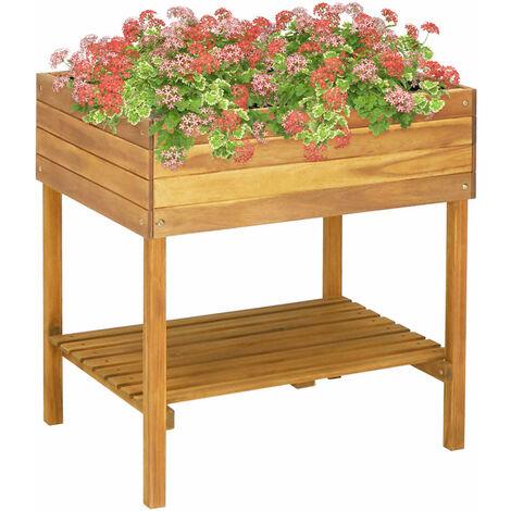Jardinera elevada de madera maciza de acacia 78,5x58,5x78,5 cm