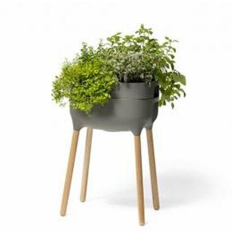 Jardinera elevada Urbalive con Autoriego y patas de madera. Antracita claro. 50,5x38x76 cm