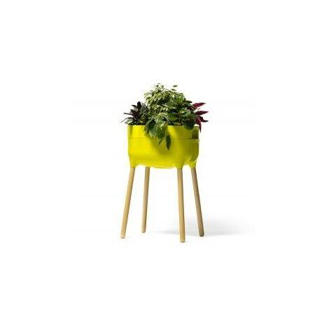 Jardinera elevada Urbalive con Autoriego y patas de madera. Verde Claro. 50,5x38x76 cm - Verde