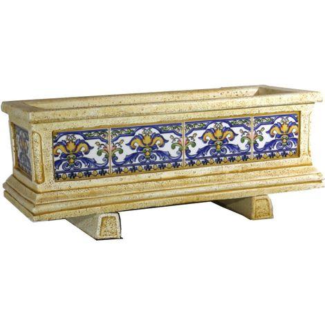 Jardinera hormigón-piedra azulejos pintados a mano Azul exterior 83x33x36cm.