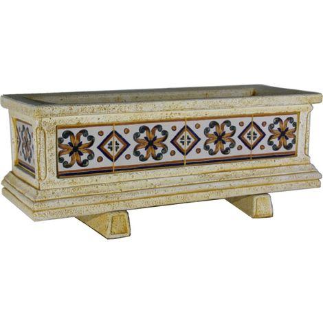 Jardinera hormigón-piedra azulejos pintados a mano Marrón exterior 83x33x36cm.