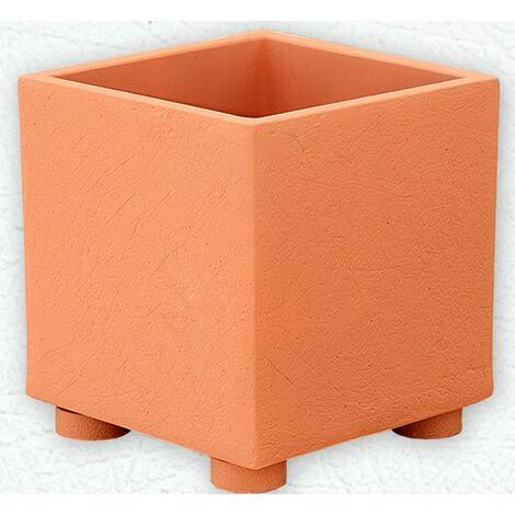 JARDINERA hormigón-piedra CUADRADA INDICO RAYADA  20x20x20cm. Disponible en varios colores.