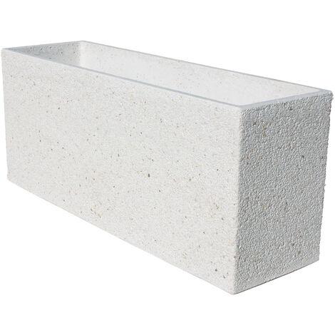 Jardinera hormigón-piedra Santolina 90x27x38cm. blanco