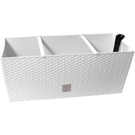 Jardinera Rato 30 litros con riego en color blanco 60 x 25 x 24 cm