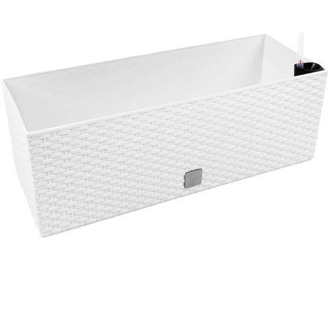Jardinera rectangular 17 litros con autorriego color blanco 52x20x19cm