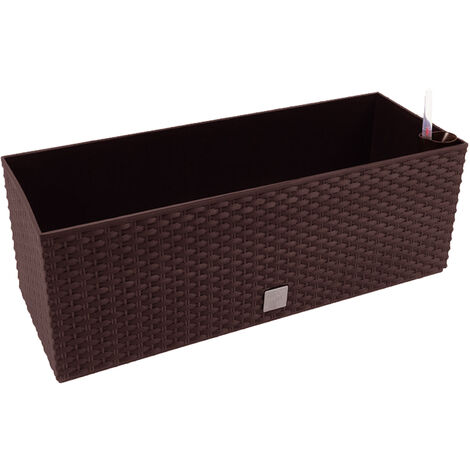 Jardinera rectangular 17 litros con autorriego color chocolate 52x20x19cm