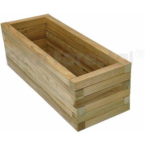 Jardinera rectangular 80x30x30cm de madera tratada